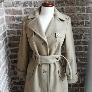 Kenneth Cole Tan Classic Wool Trench Coat